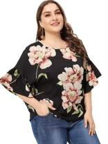 ROMWE Women's Plus Top Short Sleeve Floral Blouse Tunic Shirt