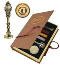 Samyo Creative Romantic Stamp Maker Classic Old-Fashioned Style Brass Color Wax Seal Sealing Stamp Vintage Antique Alphabet Initial Letter Set - (Letter D)