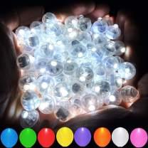 Aogist 100pcs White LED Balloon Light,Round Led Flash Ball Lamp for Paper Lantern Balloon Party Wedding Decoration