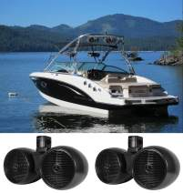 "2) Rockville DWB80B Dual 8"" Black 1600w Marine Wakeboard Tower Speaker Systems"