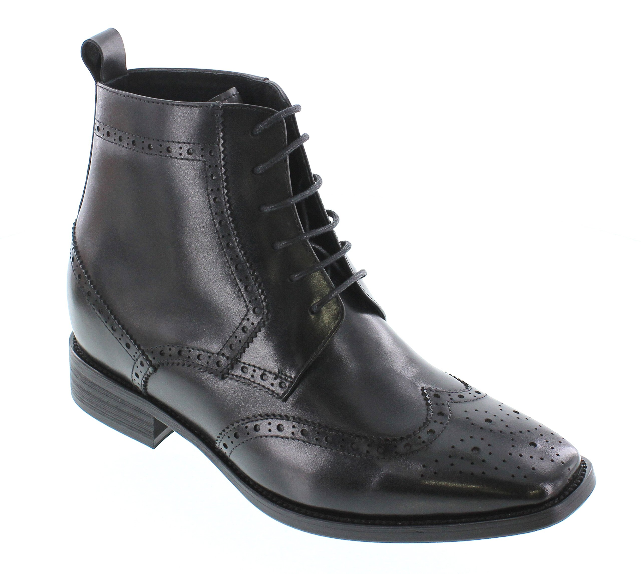CALTO Men's Invisible Height Increasing Elevator Shoes - Black Premium Leather Lace-up Wing-tip Fashion Dress Boots - 2.6 Inches Taller - T66930