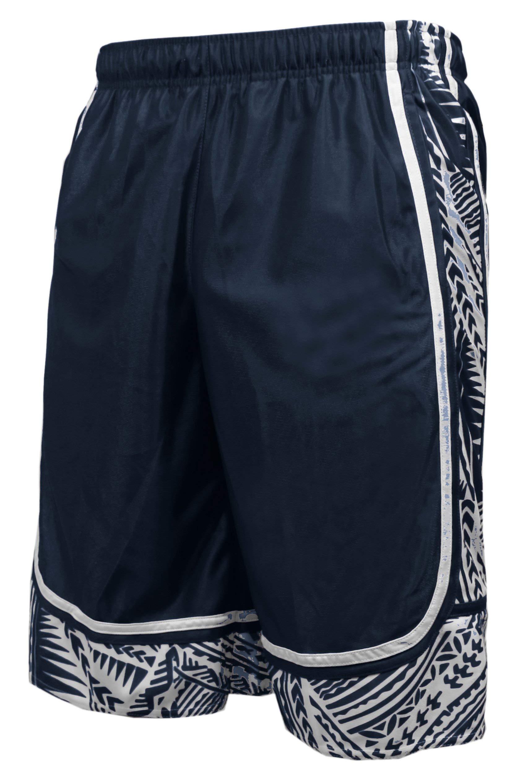 ViiViiKay Men's Long Dazzle Baseketball Training Workout Gym Athletic Shorts Printed_Navy 3XL