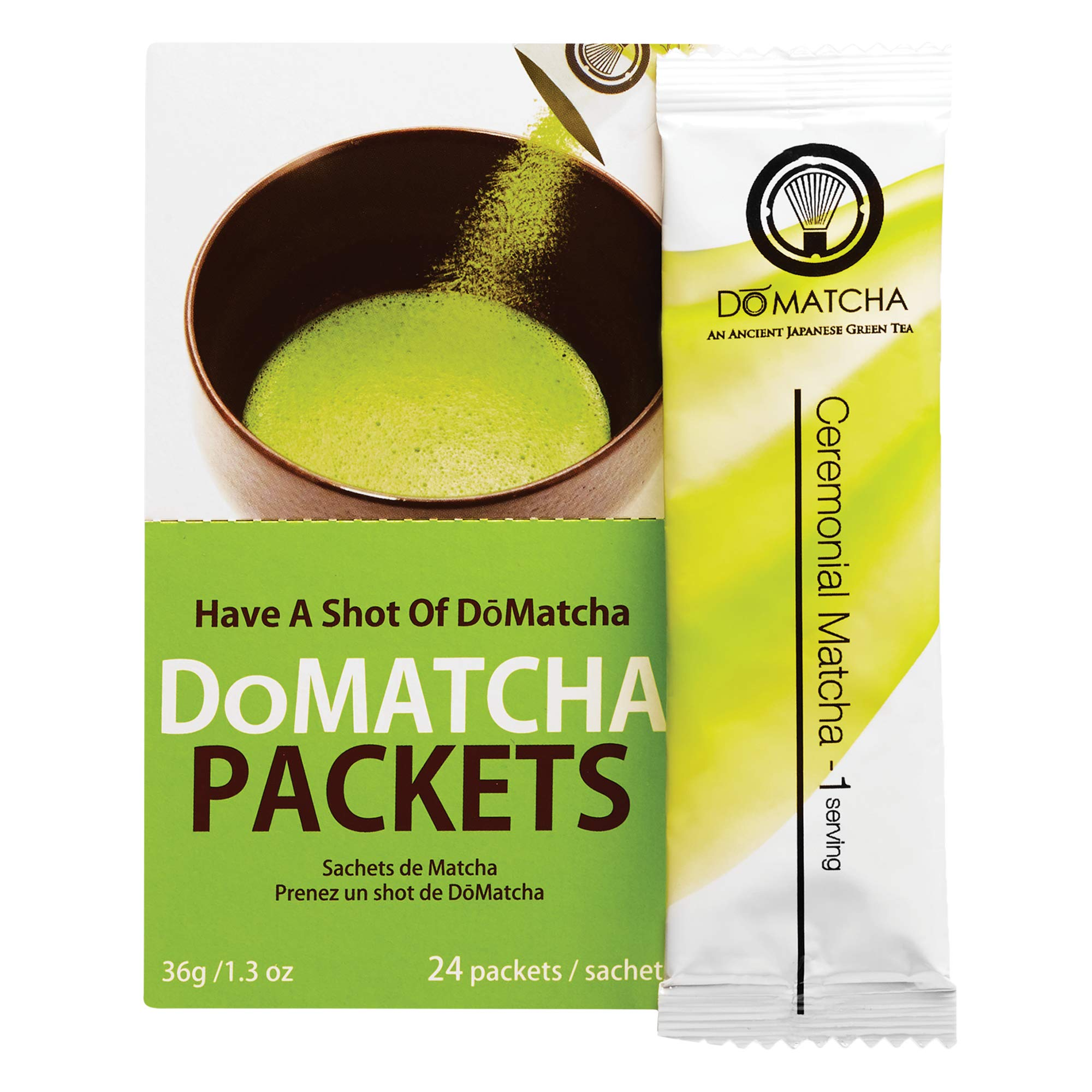 DoMatcha - Ceremonial Green Tea Matcha Powder, Travel Friendly, Natural Source of Antioxidants, Caffeine, and L-Theanine, Promotes Focus and Relaxation, Kosher, 24 Packets