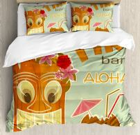 Ambesonne Tiki Bar Duvet Cover Set, Invitation to Tiki Bar Old Fashion Display Coconut Drink Mask and Flowers Print, Decorative 3 Piece Bedding Set with 2 Pillow Shams, King Size, Green Brown