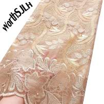 WorthSJLH African Lace Fabric 2019 Cord Nigerian Lace Fabric Wedding French Tulle Net Lace Fabric for Dresses J842 (Gold)