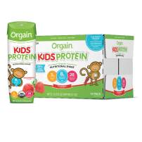 Orgain Organic Kids Protein Nutritional Shake, Strawberry - Great for Breakfast & Snacks, 21 Vitamins & Minerals, 10 Fruits & Vegetables, Gluten Free, Soy Free, Kosher, Non-GMO, 8.25 Ounce, 12 Count