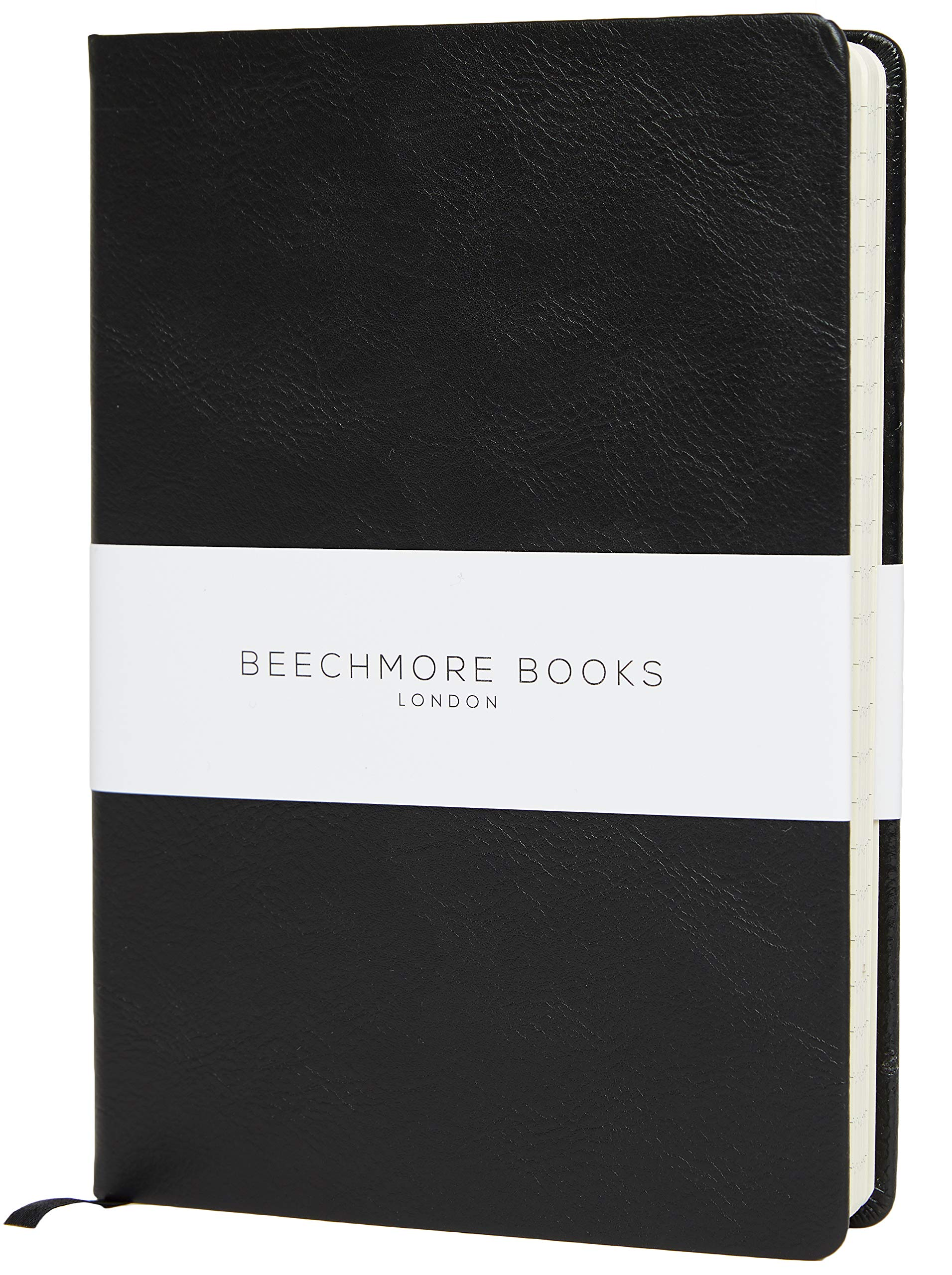 Bullet Notebook - Premium British A5 Dotted Journal by Beechmore Books   Hardcover Vegan Leather, Thick 120gsm Cream Paper, Dot Grid Notebook in Gift Box (Charcoal Black)