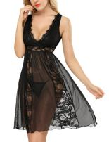 DLOREUK Womens Plus Size Lingerie Lace Babydoll Chemise V-Neck Nightgown Sexy Lingerie for Women S-4XL
