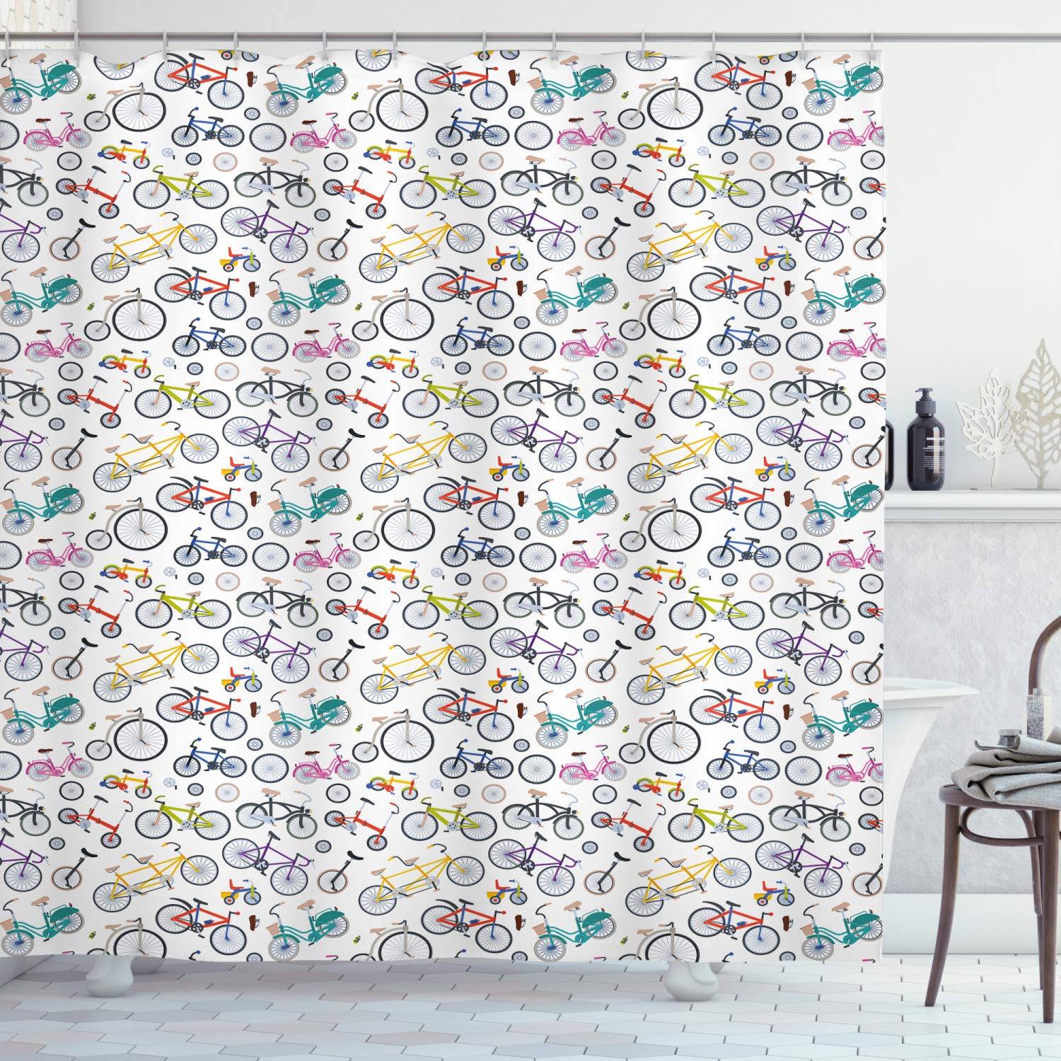 """Ambesonne Bicycle Shower Curtain, Retro Style Colorful Bicycles of All Styles and for All Age Groups Training Wheels, Cloth Fabric Bathroom Decor Set with Hooks, 84"""" Long Extra, Teal White"""