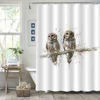 """MitoVilla Owl Shower Curtain for Baby Kids, Watercolor Splash Winter Countryside Scence of Wild Birds Stood on The Tree Branch Art Decor for Nature Home, Beige, 72"""" W x 78"""" L"""
