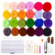 Fuyit Wool Roving 24 Colors Needle Felting Wool Set Felt Tools Needle Felting Starter Kit Wool Fibre Hand Spinning DIY Craft Materials