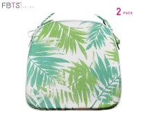 FBTS Prime Outdoor Chair Cushions (Set of 2) 16x17 Inch Patio Seat Cushions Green Leaf Square Chair Pads for Outdoor Patio Furniture Garden Home Office