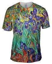 Yizzam- Vincent Van Gogh - Irises (1889) -Tshirt- Mens Shirt