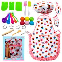 Kids Cooking and Baking Set, 29 Pcs Birthday Gifts for 3-12 Year Old Girls Chef Role Play Includes Apron for Girls, Chef Hat, Cooking Mitt, Utensils, Festival Toys for 3-6 Year Old Girls (29 Pcs)