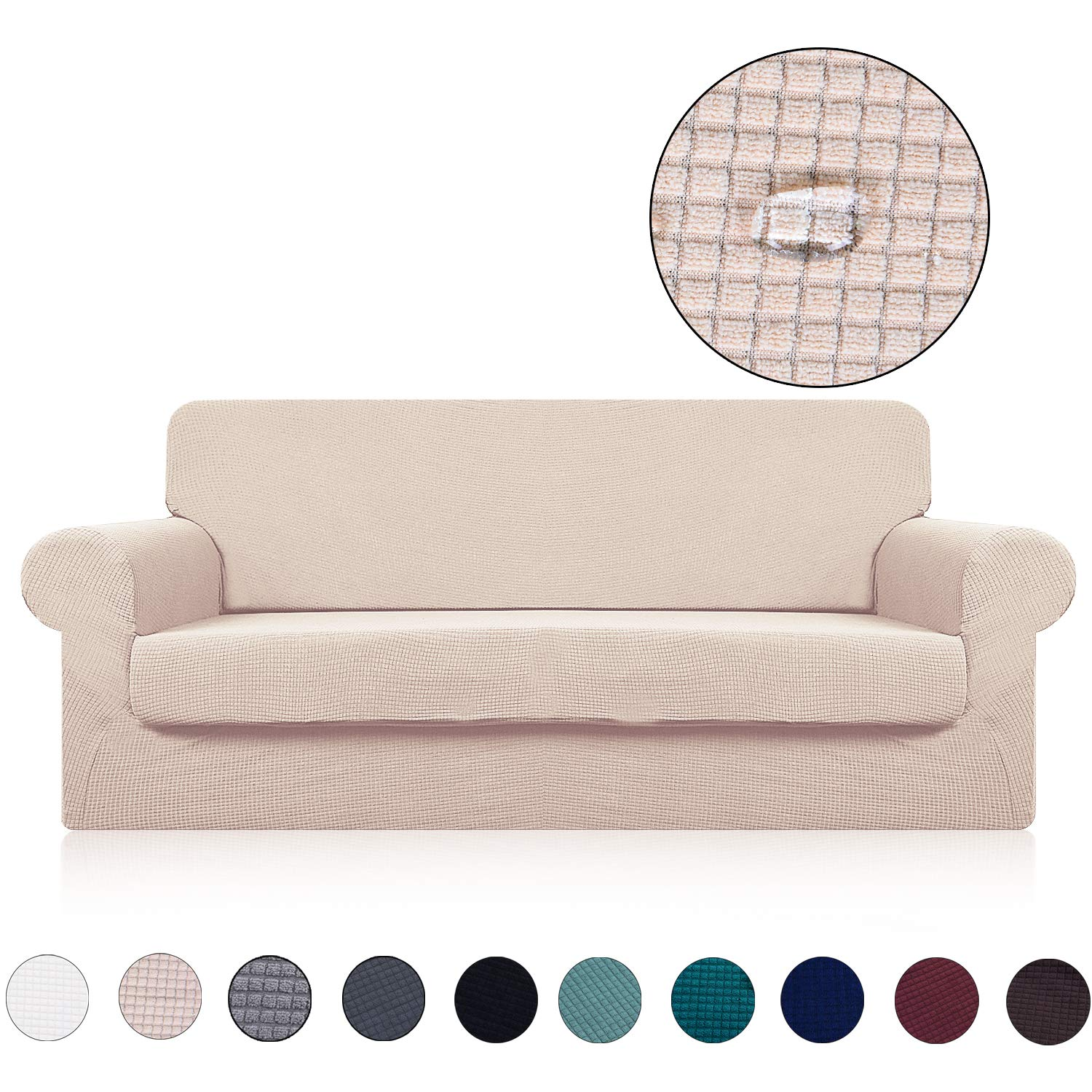 Sofa Cover with Separate Seat Cushion Cover(2 Pieces Set) - Water Repellent,Knitted Jacquard,High Stretch - Living Room Couch Slipcover/Protector/Shield for Dog Cat Pets(3 Seater Sofa,Beige)