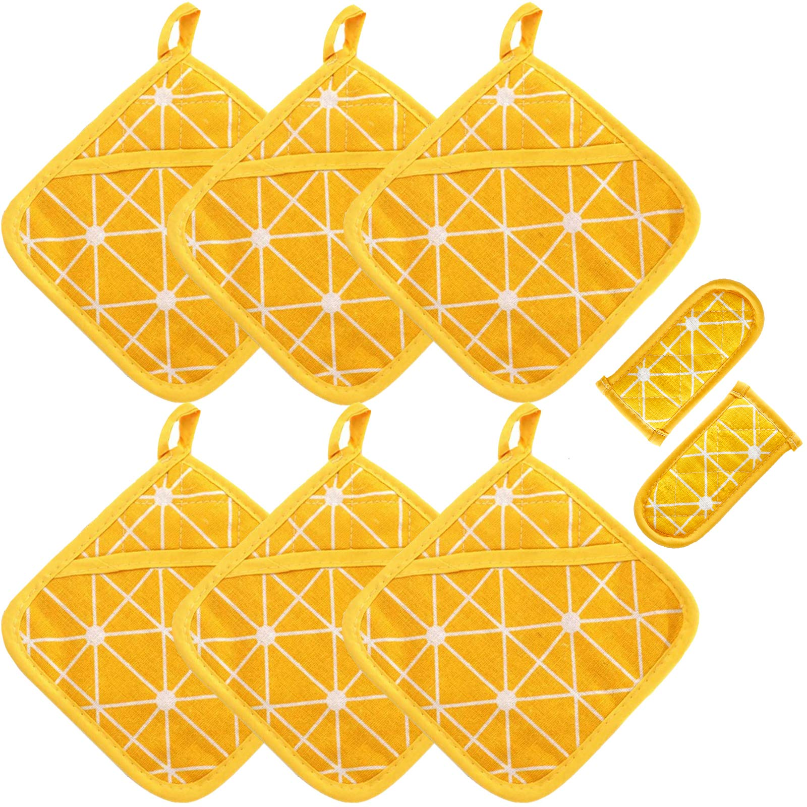 Win Change Heat Resistant Potholders Hot Pads-6 Kitchen Pot Holders Set with 2 Pan Hot Handle Holders Trivet for Cooking and Baking,with Recycled Cotton Infill Terrycloth Lining(Yellow,8 Piece)