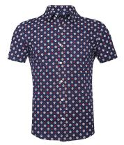 TOPORUS Men's Casual Short Sleeve Printing Pattern Button Down Shirt