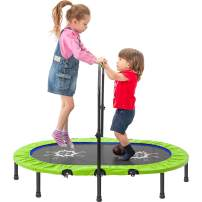 "Tricodale Kids Trampolines - Enhanced Edition Two Person Mini Trampoline with Adjustable Handle for Indoor/Garden Workout, Max Load 180 lbs, 55"" x 36"""