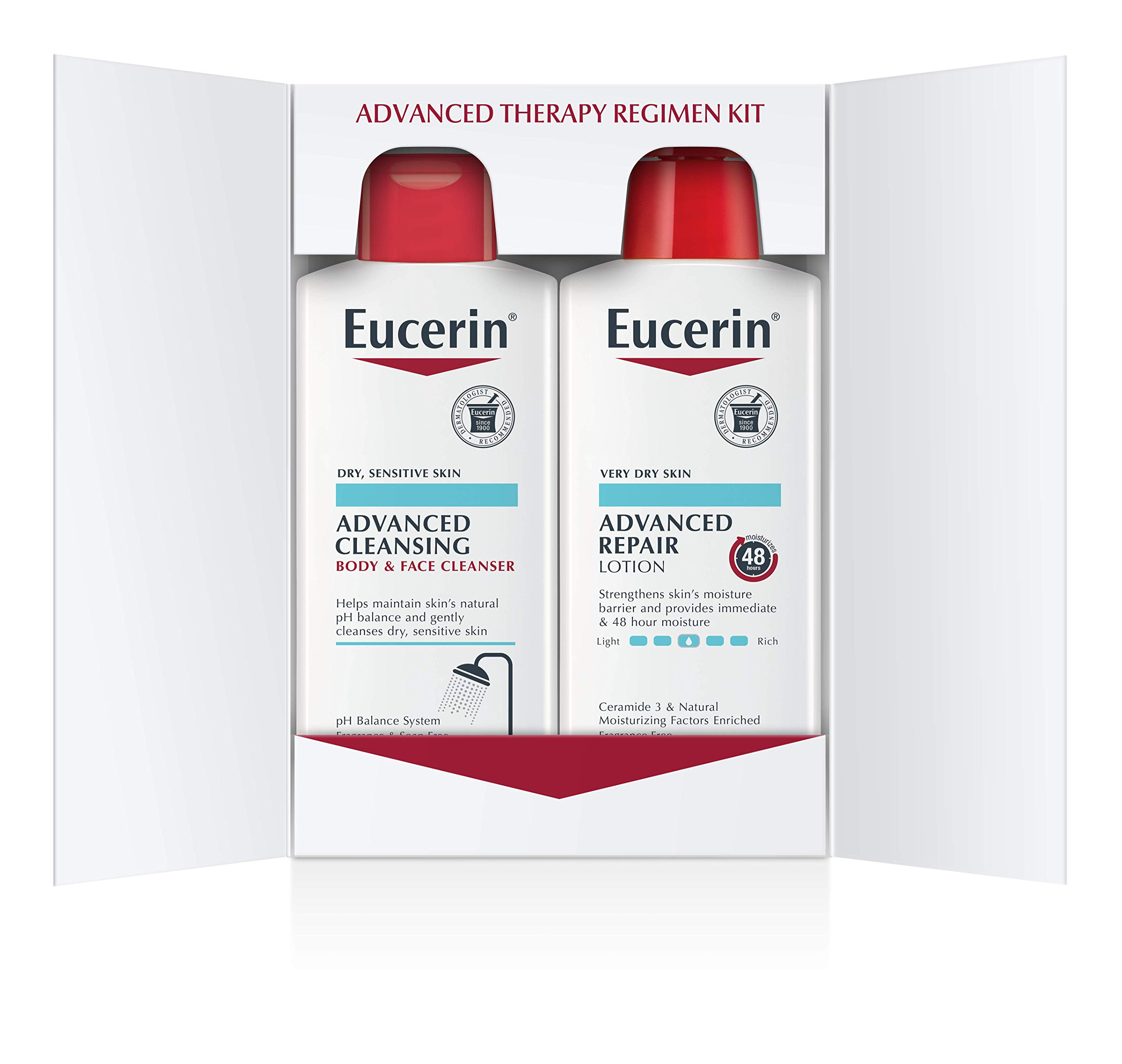 Eucerin Advanced Repair Regimen Pack - Advanced Repair Body Lotion & Advanced Cleansing Face and Body Wash - 16.9 oz Bottles, 2 Pack