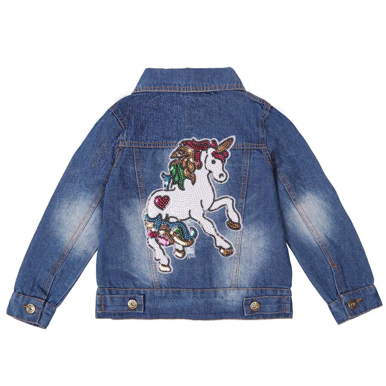 ANATA Girls Distressed Jean Jacket Casual Denim Jacket Sequin Ripped Coat