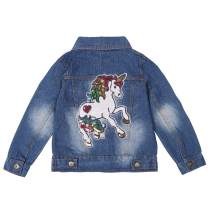 ANATA Girls Distressed Jean Jacket Casual Denim Jacket Sequin Ripped Coat