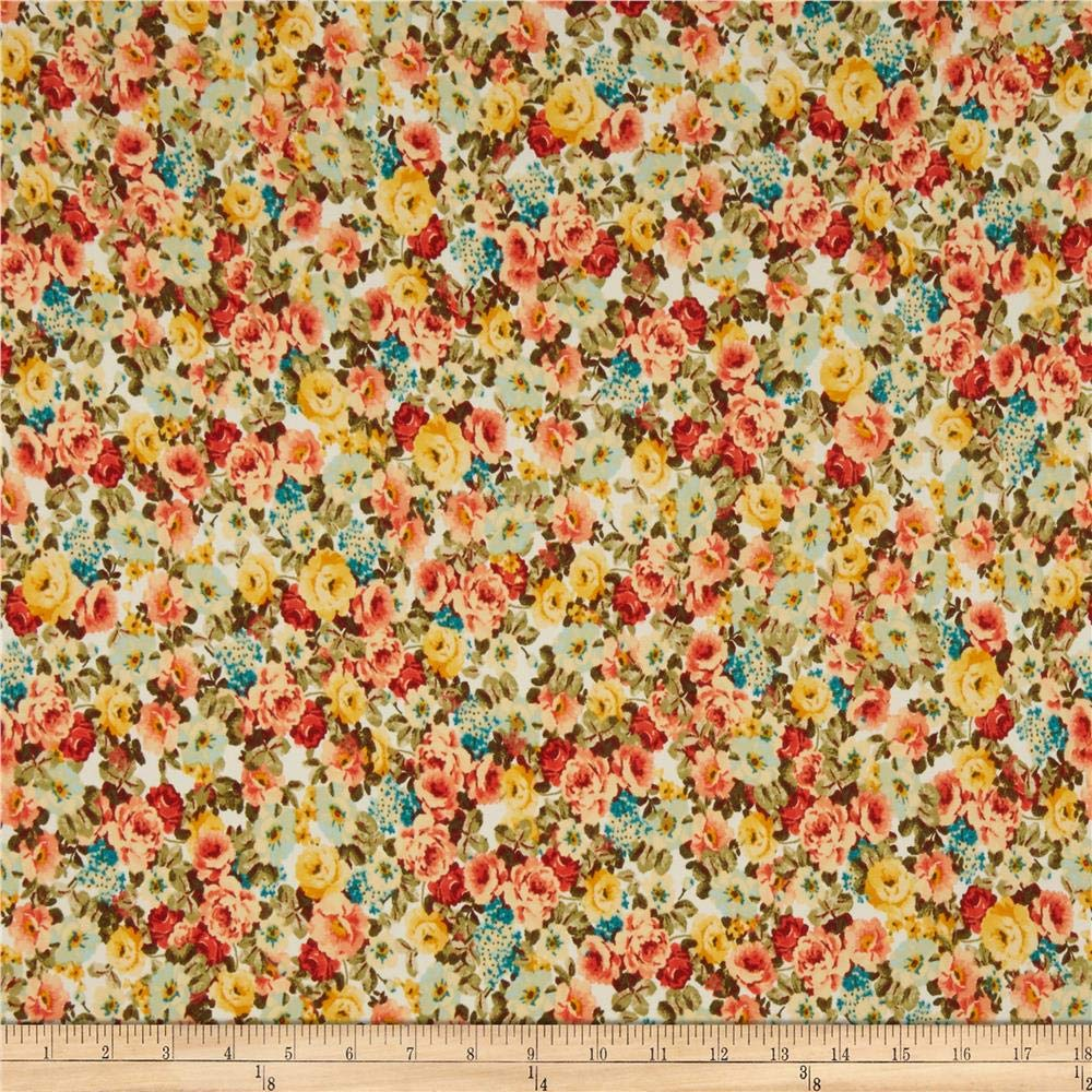 Fabric Double Brushed Poly Jersey Knit Multi Mini Floral Ivory/Coral Fabric by the Yard