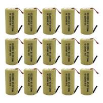 GEILIENERGY Sub C 2200mAh NiCd Rechargeable Battery for Power Tools with 10C Discharge Rate (w/Tabs)(Pack of 15)