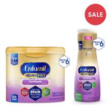 Enfamil NeuroPro Gentlease Baby Formula Milk Powder 6 - 19.5 oz. Reusable Tubs & 6 - 32 fl oz Ready to Use Bottles, For Easing Gas & Crying, Vitamins & Minerals for Immune Support, DHA MFGM Iron