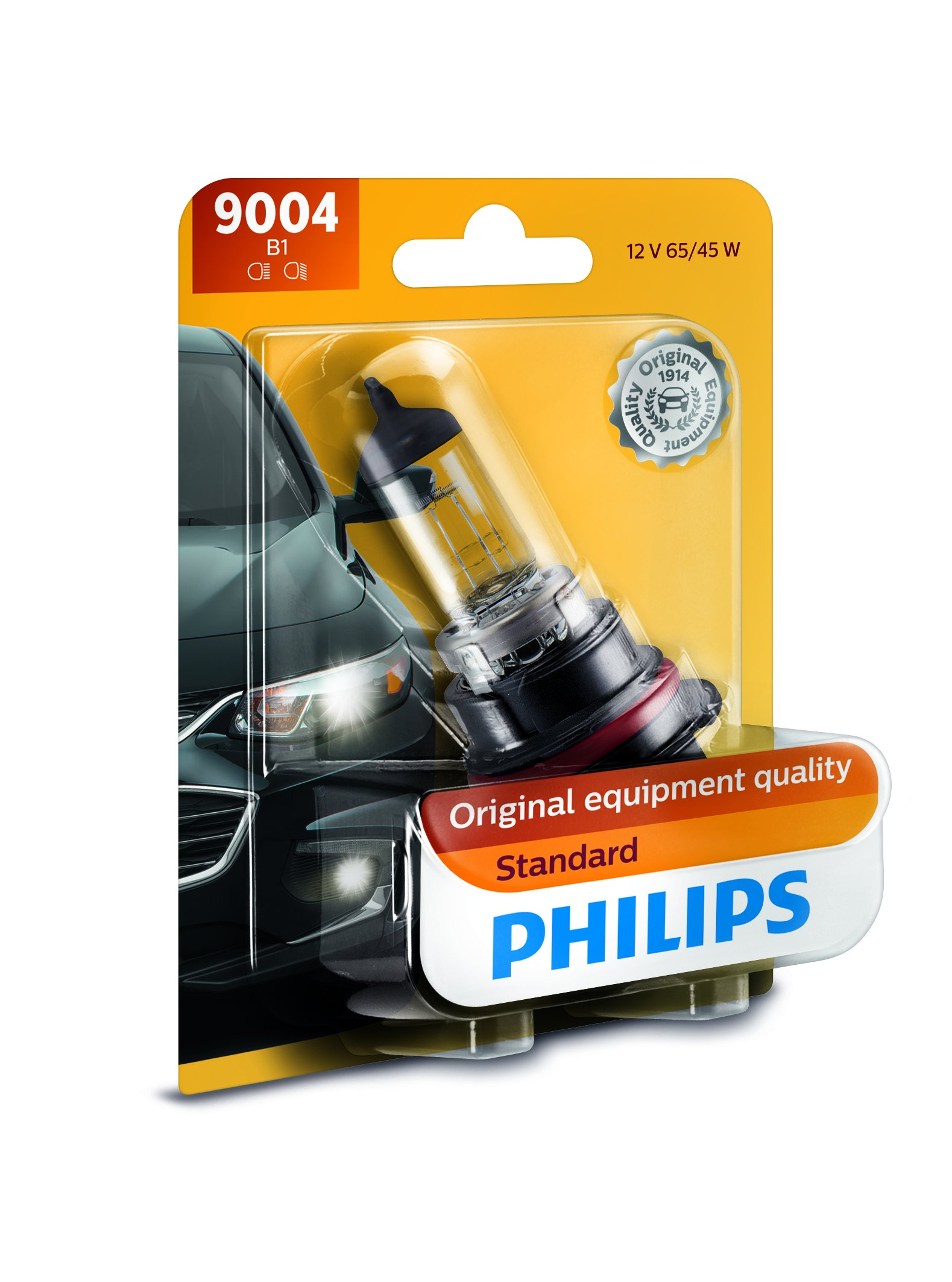 Philips 9004 Standard Halogen Replacement Headlight Bulb, Pack of 1