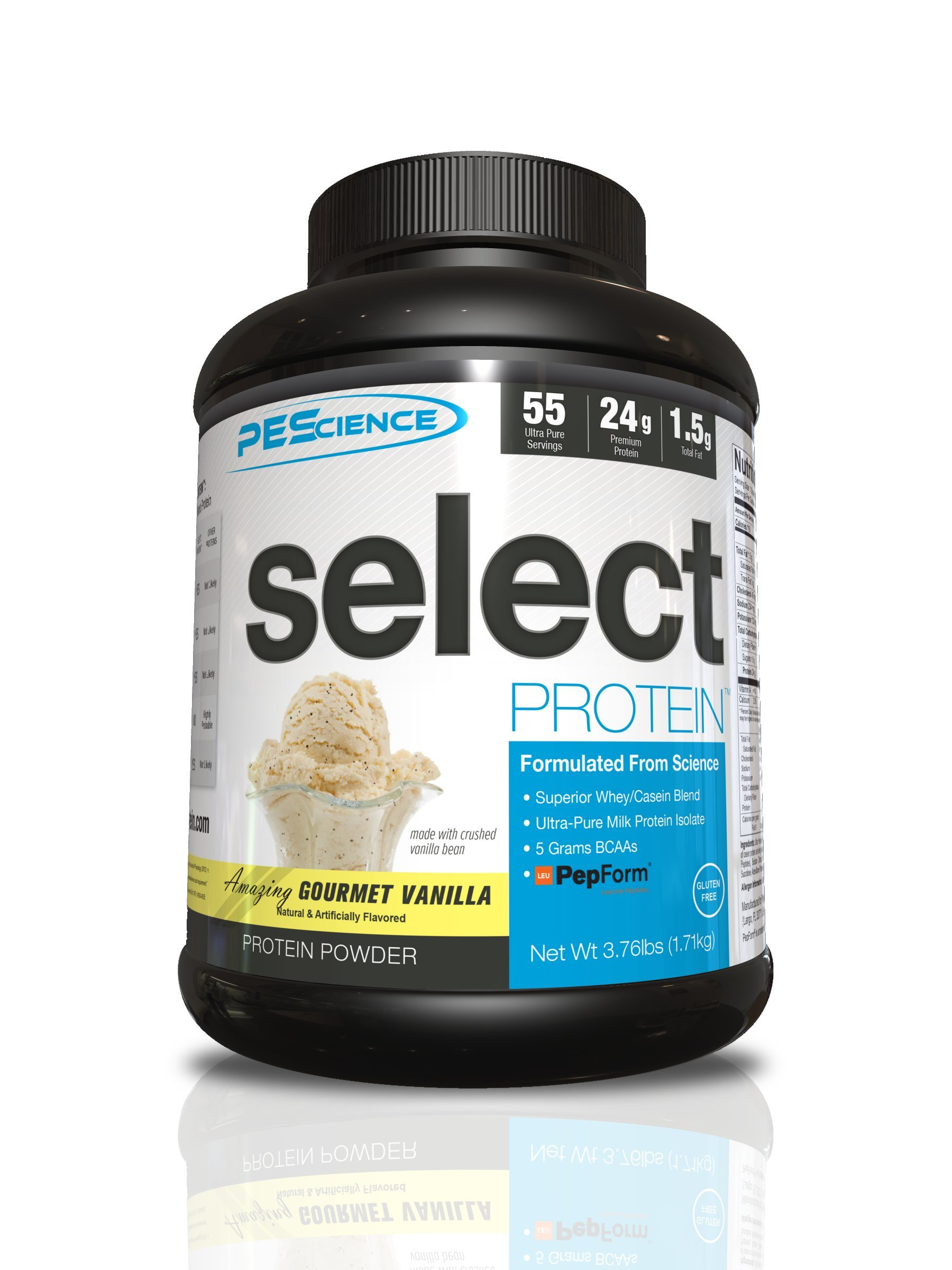 PEScience Select Low Carb Protein Powder, Vanilla, 55 Serving, Keto Friendly and Gluten Free