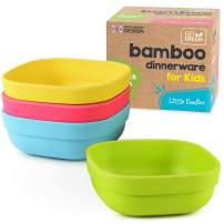 Bamboo Kids Bowls, 4 Pack Set, Stackable Bamboo Dinnerware for Kids, Bamboo Fiber Kids Bowls Set, Dishwasher Safe and Stackable