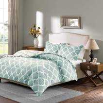 Sleep Philosophy Peyton Reversible Fretwork Print Plush Set Bedroom Comforters with Shams Ultra Soft and Cozy, Twin, Aqua