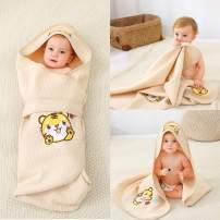 Alcea Rosea Unisex-Baby Newborn Tiger Print Hooded Baby Blanket Organic Cotton Wearable Blanket Sleep Bag Blanket Sleeper for Baby (Tiger)
