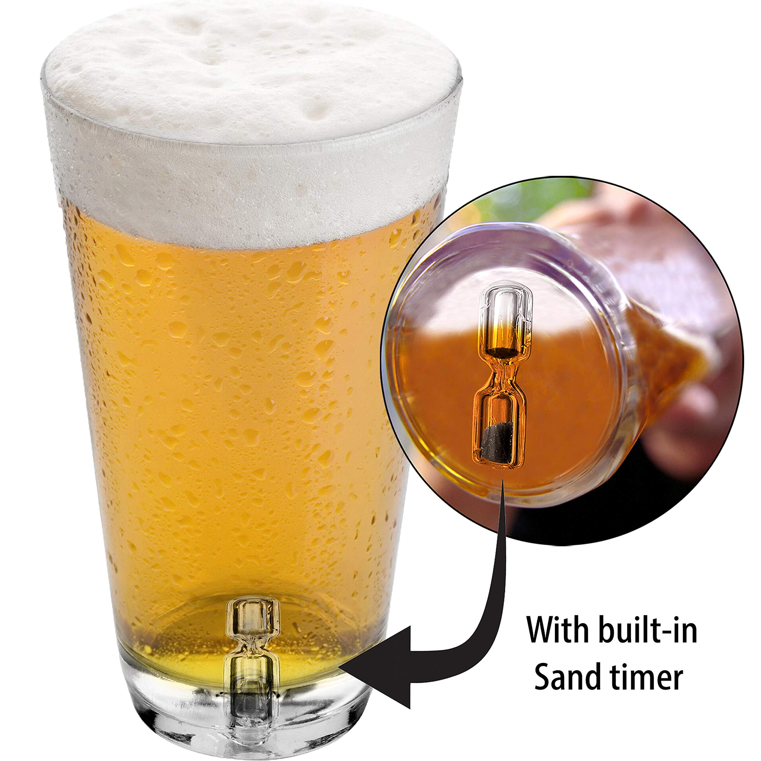 Barbuzzo Sand Timer Pint Glass (16 Ounce) - Beer Glass With Hourglass Sand Timer