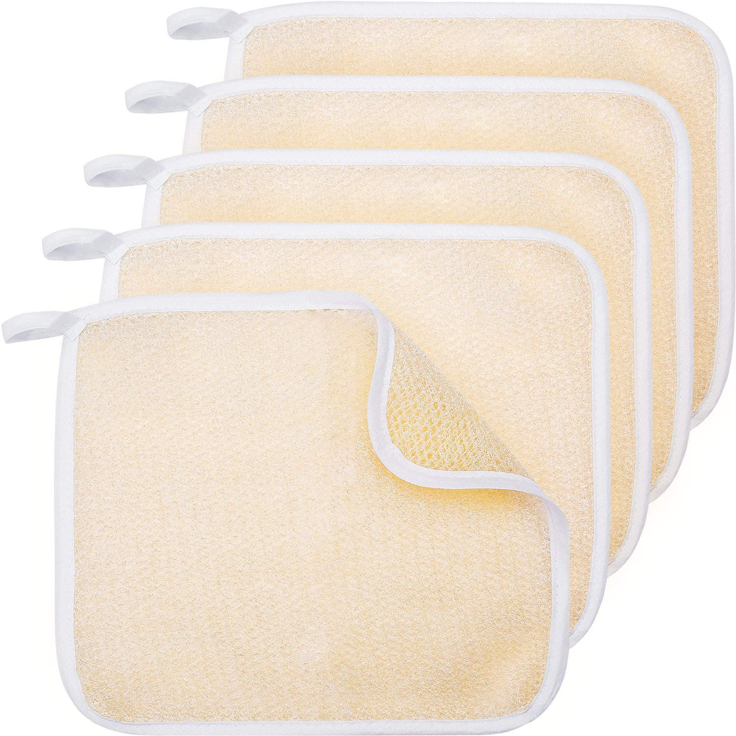 Tatuo 5 Pack Exfoliating Face and Body Wash Cloths Towel Soft Weave Bath Cloth Exfoliating Scrub Cloth Massage bath Cloth for Women and Man (5 Pack Two Sides Exfoliating Cloth) (Beige)