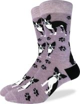 Good Luck Sock Men's Boston Terrier Crew Socks - Purple, Shoe Size 7-12