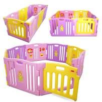 Kidzone Interactive Baby Playpen 8 Panel Safety Gate Children Play Center Home Child Activity Pen ASTM Certified (Pink- Purple- Yellow)