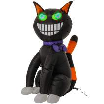 Halloween Haunters 4 Feet High Inflatable Scary Black Cat Yard Prop Decoration with Flashing Multi-Color LED Eyes, Spooky Smiling Kitty Indoor Outdoor Lawn Blow Up Haunted House Party Entryway Display