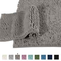 Extra Thick Chenille Plush Pattern Bath Rugs for Bathroom Non Slip - Soft Plush Shaggy Bath Mats for Bathroom Floor, Indoor Mats Rugs for Entryway (Dark Grey, 32 x 20 Plus 24 x 17 - Inches)