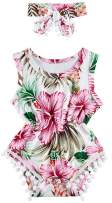 Kids4ever Baby Boys Girls Rompers 0-24 Months Flower Print Pompom Jumpsuits with Headband