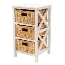 eHemco 3 Tier X-Side End Table/Cabinet Storage with 3 Baskets, White