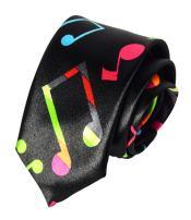 Men Boys Novelty Musical Notes Printed Necktie Super Skinny Fun Theme Thin Ties
