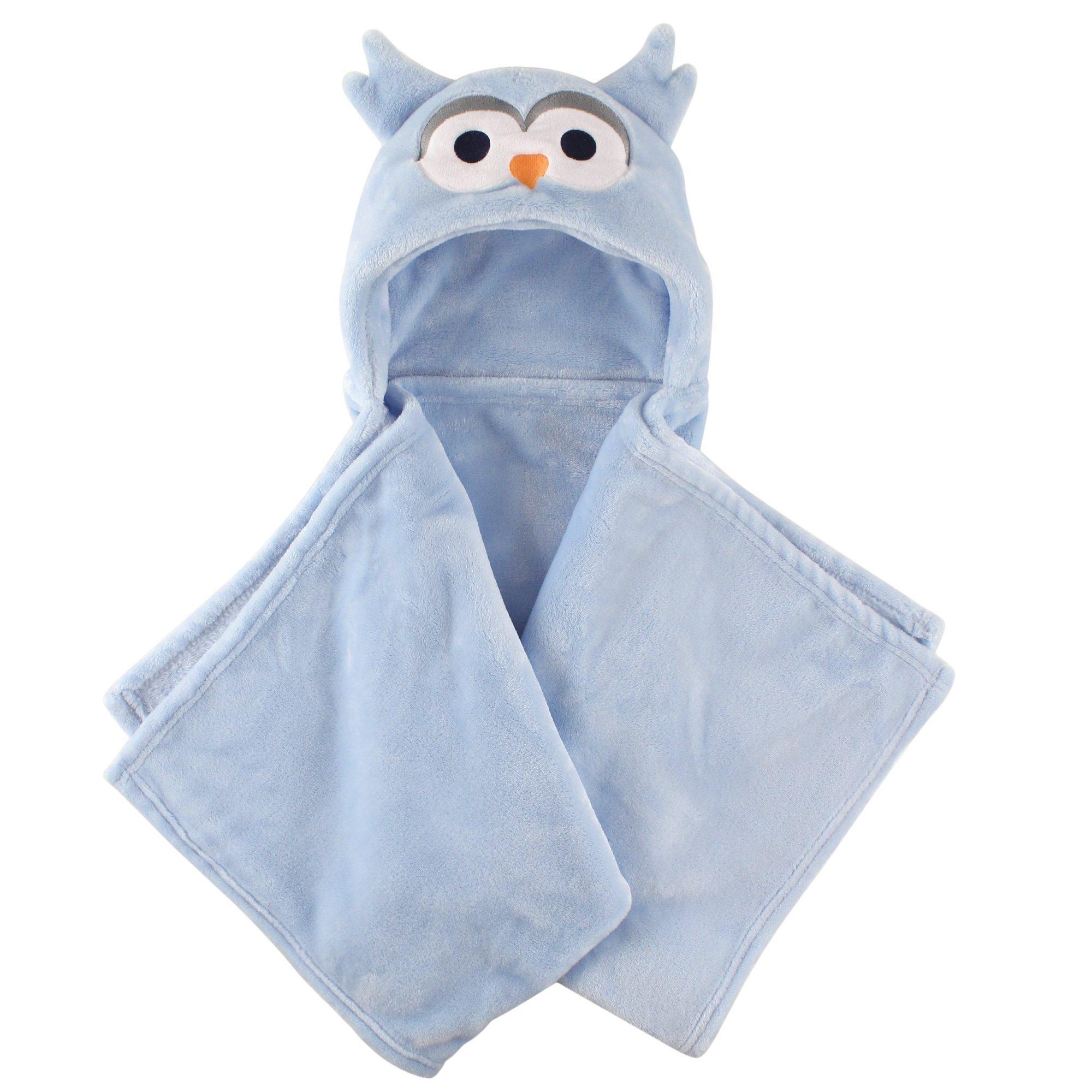 Hudson Baby Unisex Baby and Toddler Hooded Animal Face Plush Blanket, Blue Owl, One Size