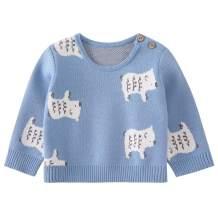 pureborn Infant Baby Boys Cartoon Bear Cotton Knit Pullover Sweater Blue 3-6 Months