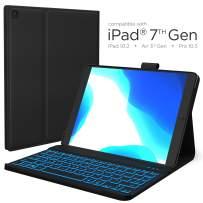iPad 7th Generation Case with Keyboard - Compatible with iPad 10.2, iPad Air 3, iPad Pro 10.5 - Backlit, Wireless, Smart Keyboard Folio for Apple iPad - iPad 10.2 Keyboard - Black