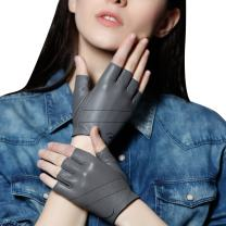 Fioretto Women Sexy Driving Leather Gloves Winter Fingerless Half Gloves Motorcycle