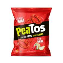 PeaTos Crunchy Rings Snacks, Fiery Onion, .6 Ounce (15 Count), Junk Food Taste, Made from Peas, Bold Flavors, 4g Protein and 3g Fiber, Pea Plant Protein Snack