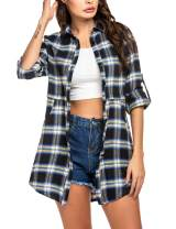 HOTOUCH Womens Flannel Plaid Shirts Roll Up Long Sleeve Pockets Mid-Long Casual Boyfriend Shirts