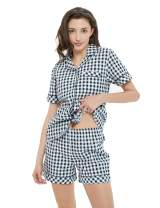 D'Boon Womens Pajamas Set Shorts Sleeves 100% Cotton Plaid Sleepwear Summer Home Loungewear
