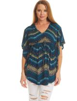 MBJ Womens Solid/Print Caftan Lounge Tunic Top - Made in USA